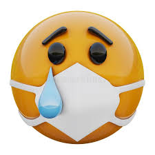 3D Render Of Crying Sad Yellow Emoji Face In Medical Mask ...