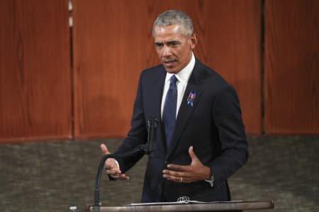 Barack Obama speaking to at John Lewis' Funeral