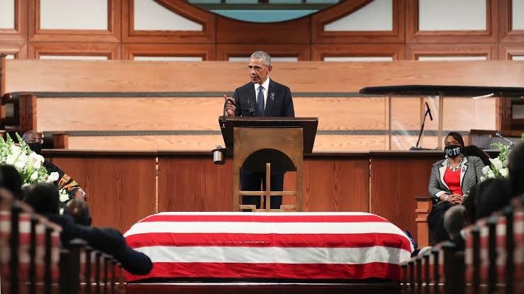 Barack Obama gives an eulogy at John Lewis' funeral